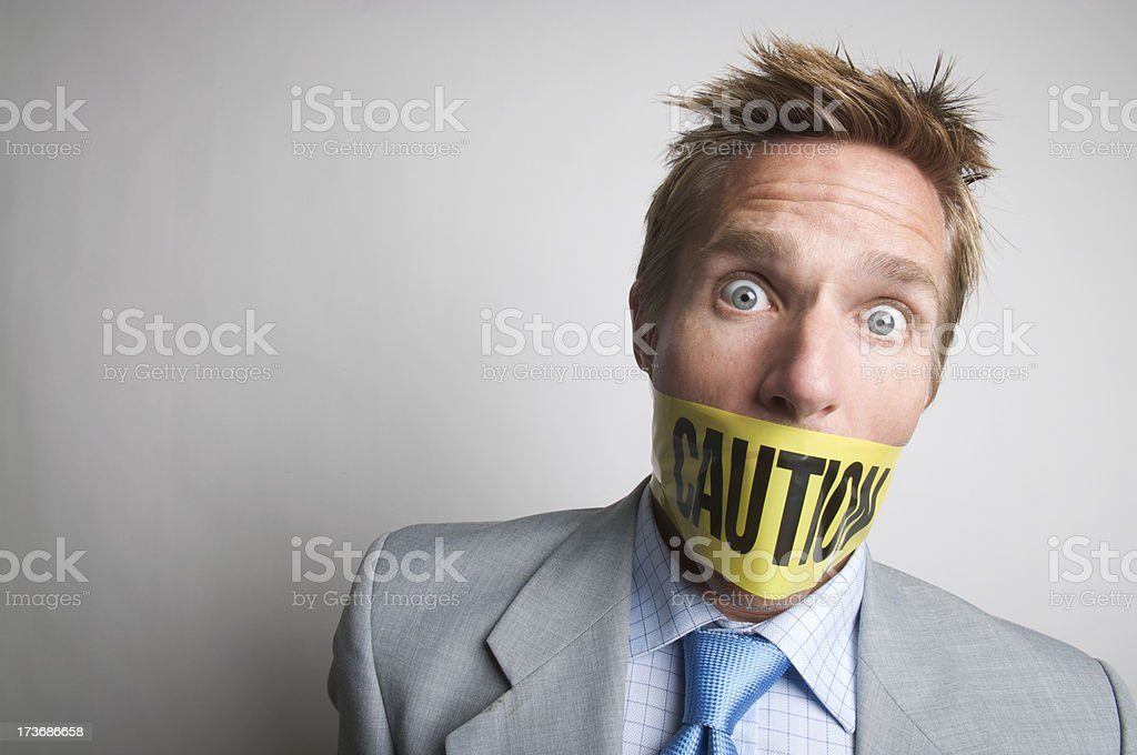 Caution Do Not Speak Businessman Gagged royalty-free stock photo