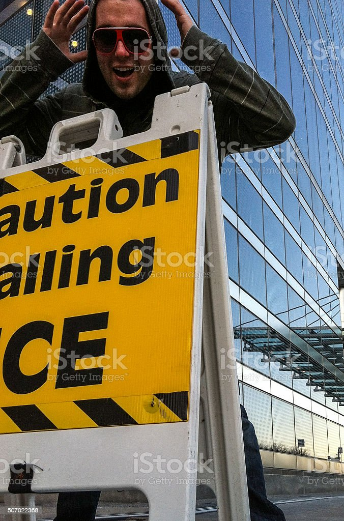 Caution - Falling Ice in Chicago stock photo