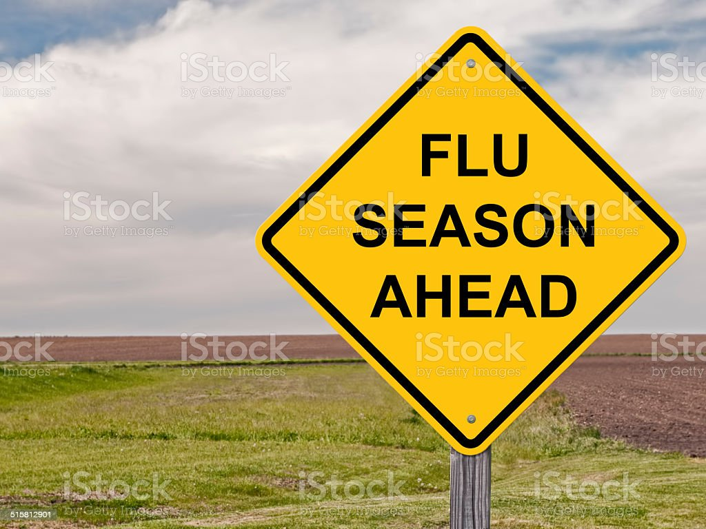 Caution - Flu Season Ahead stock photo