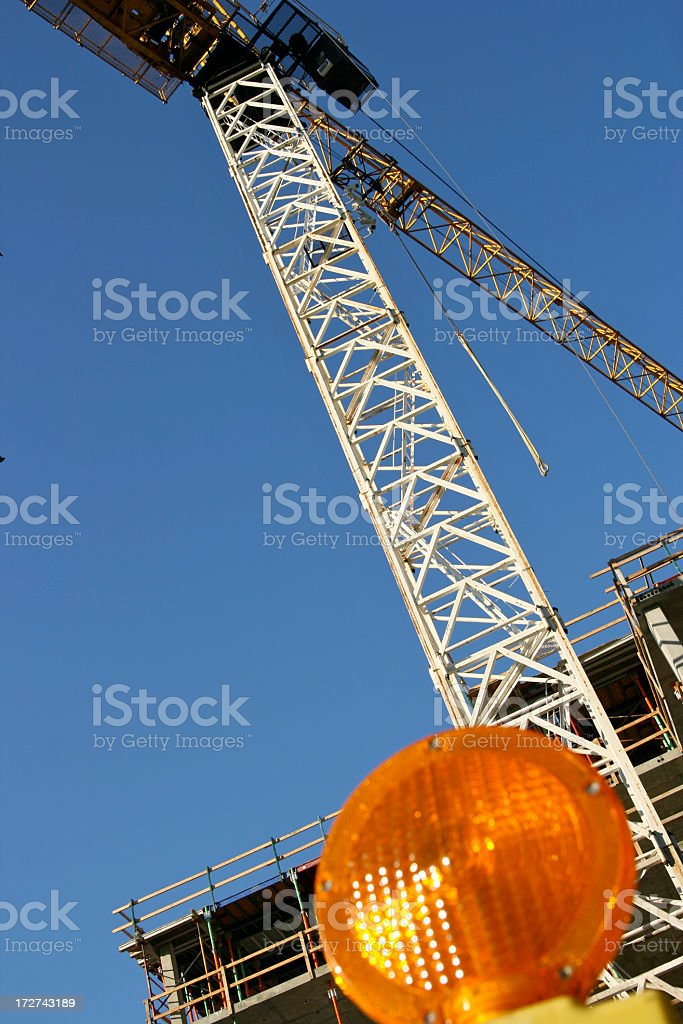 Caution for Construction Crane royalty-free stock photo
