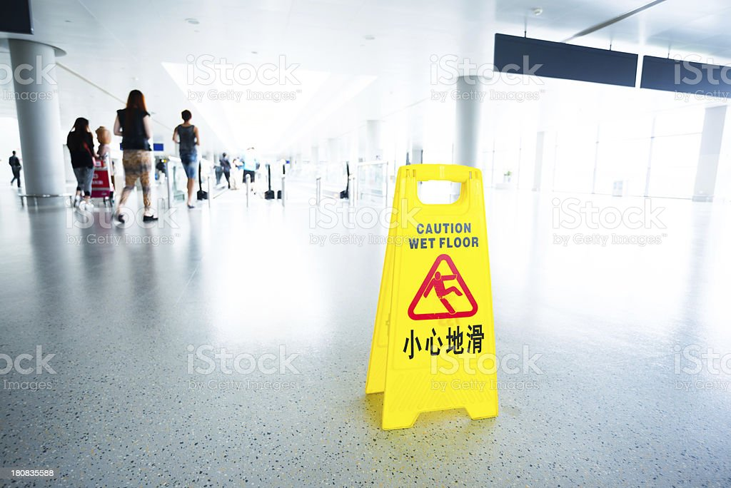 caution for wet floor royalty-free stock photo