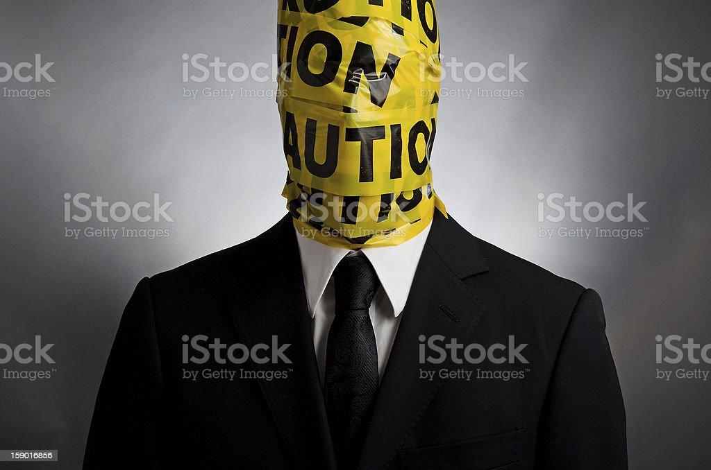 Caution Head stock photo