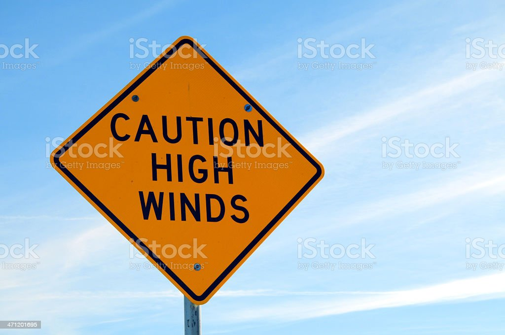 Caution High Winds stock photo