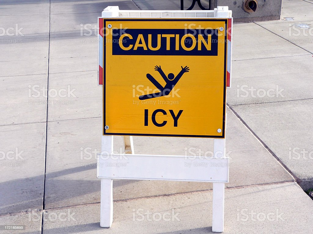 Caution icy floor sign with pictogram outdoors royalty-free stock photo
