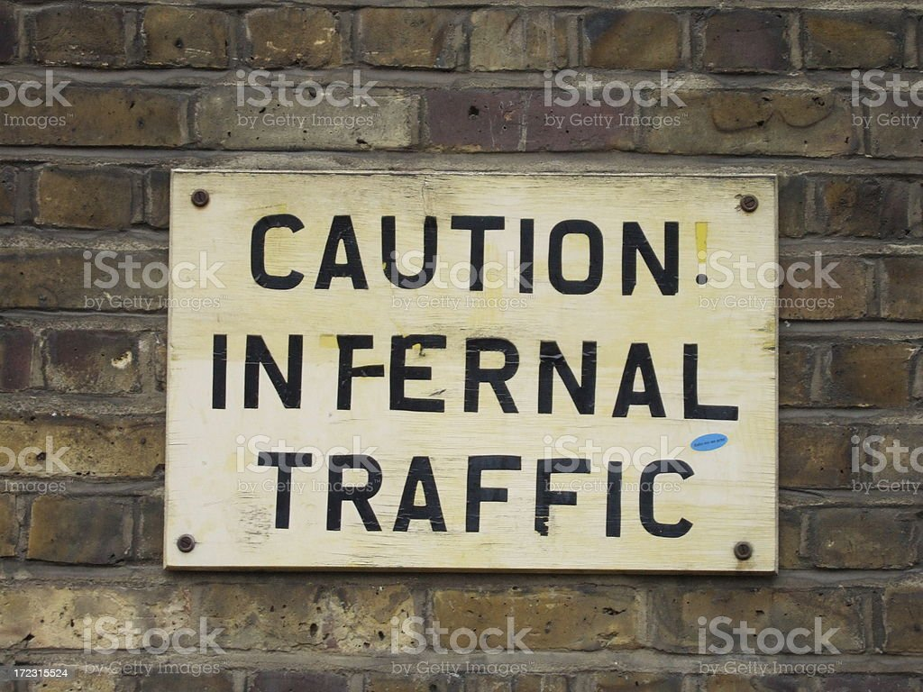 Caution Infernal Traffic stock photo
