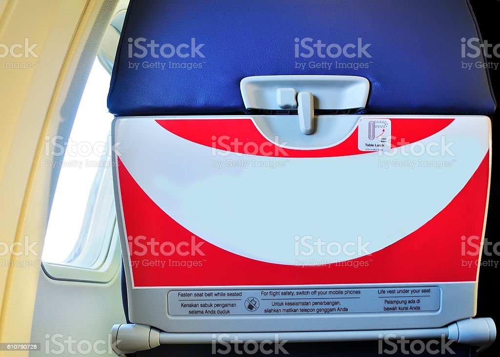 caution label on the airplane stock photo