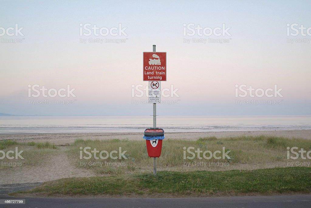 Caution - Land train turning royalty-free stock photo