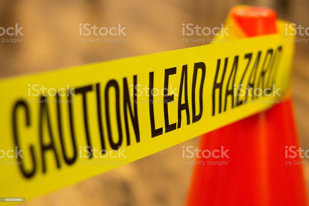 Caution Lead Hazard Warning stock photo