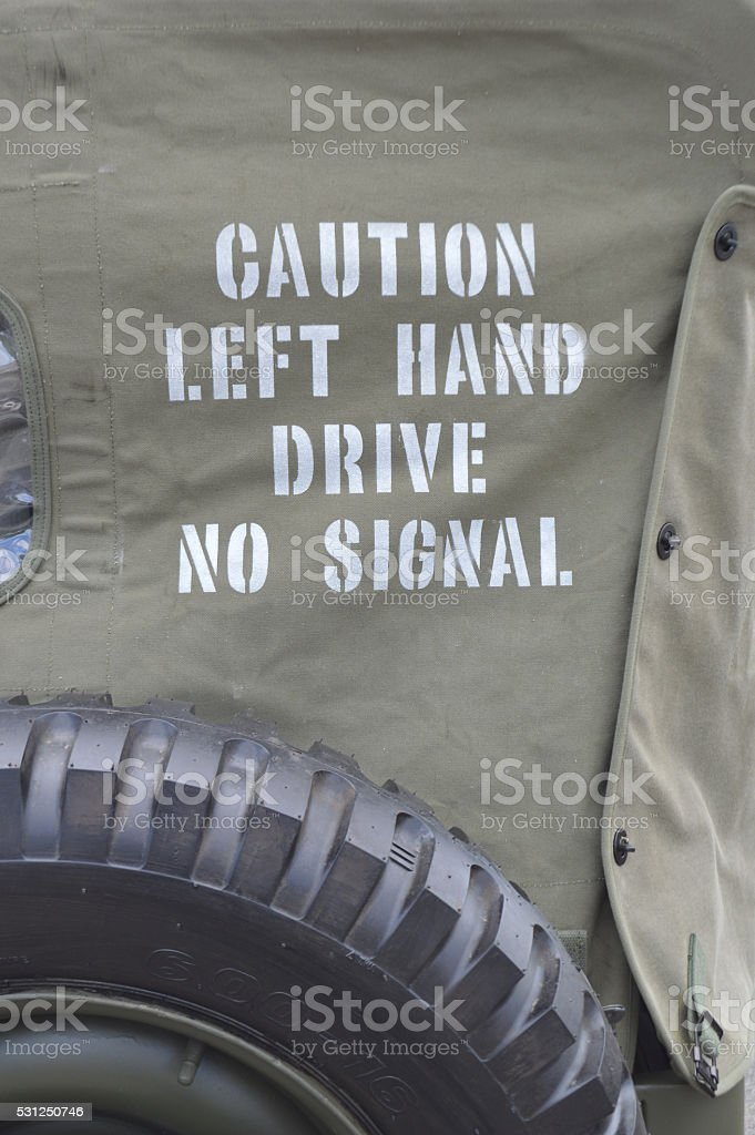 Caution left hand drive no signal sign. stock photo