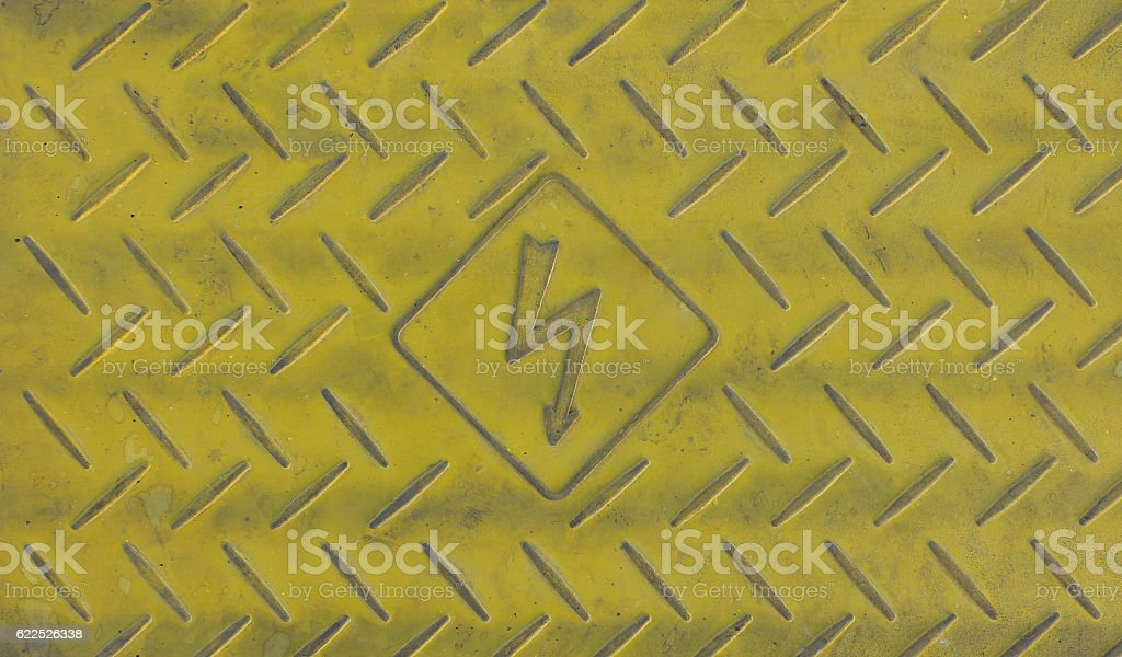 Caution on ground for High Voltage Sign stock photo