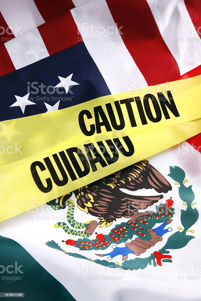 Caution on the US and Mexico Border royalty-free stock photo