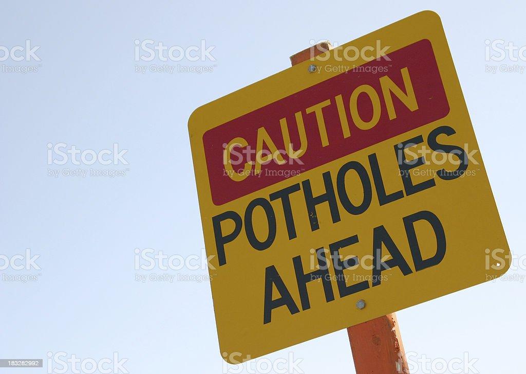 Caution: potholes stock photo