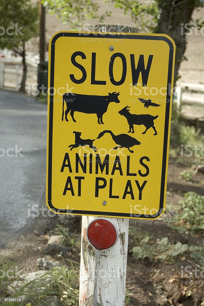 Caution Road Sign to Slow for Animals at Play royalty-free stock photo