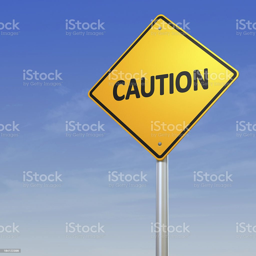 Caution - Road Warning Sign stock photo