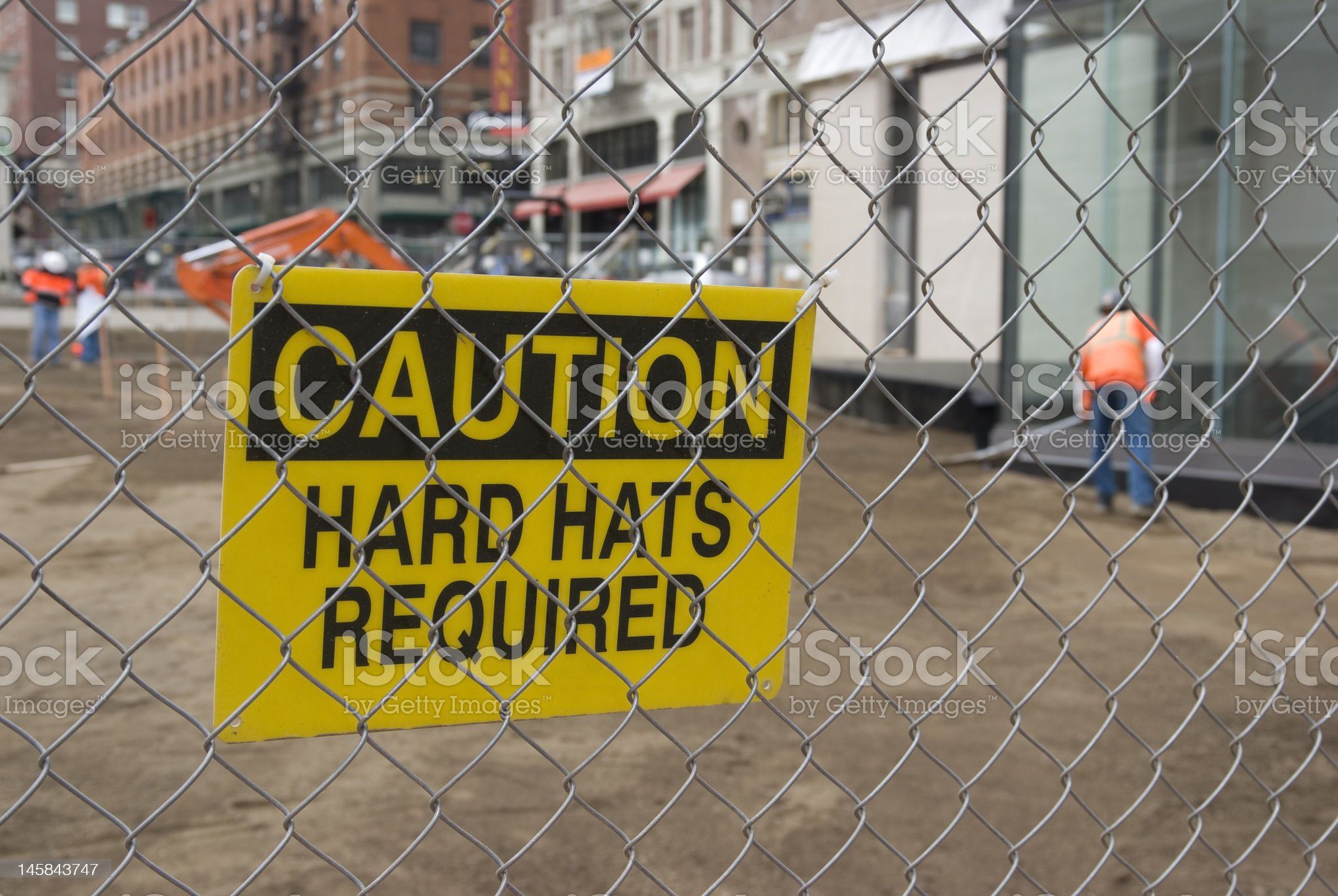Caution sign at a construction site. royalty-free stock photo