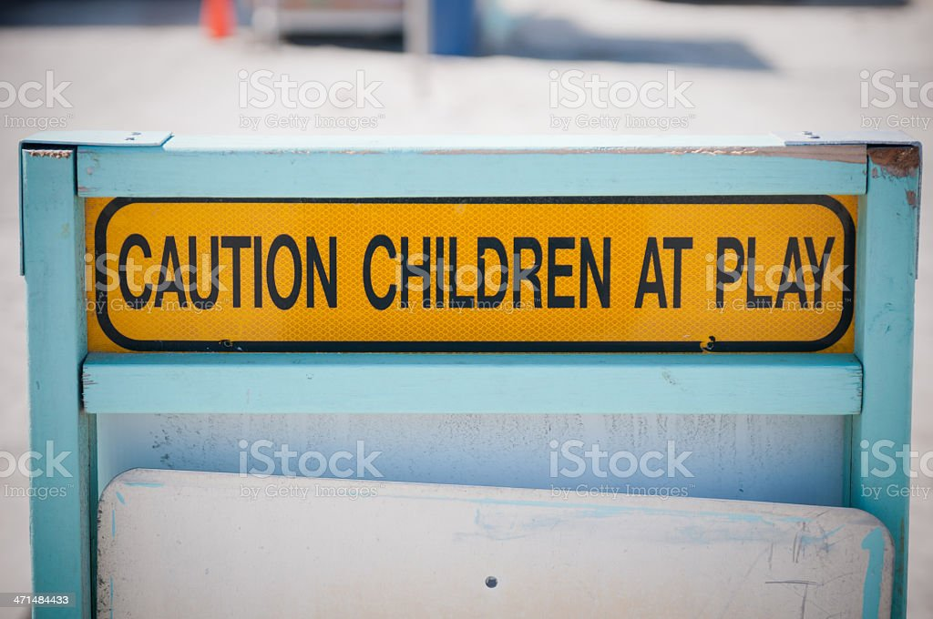 Caution sign - children at play royalty-free stock photo