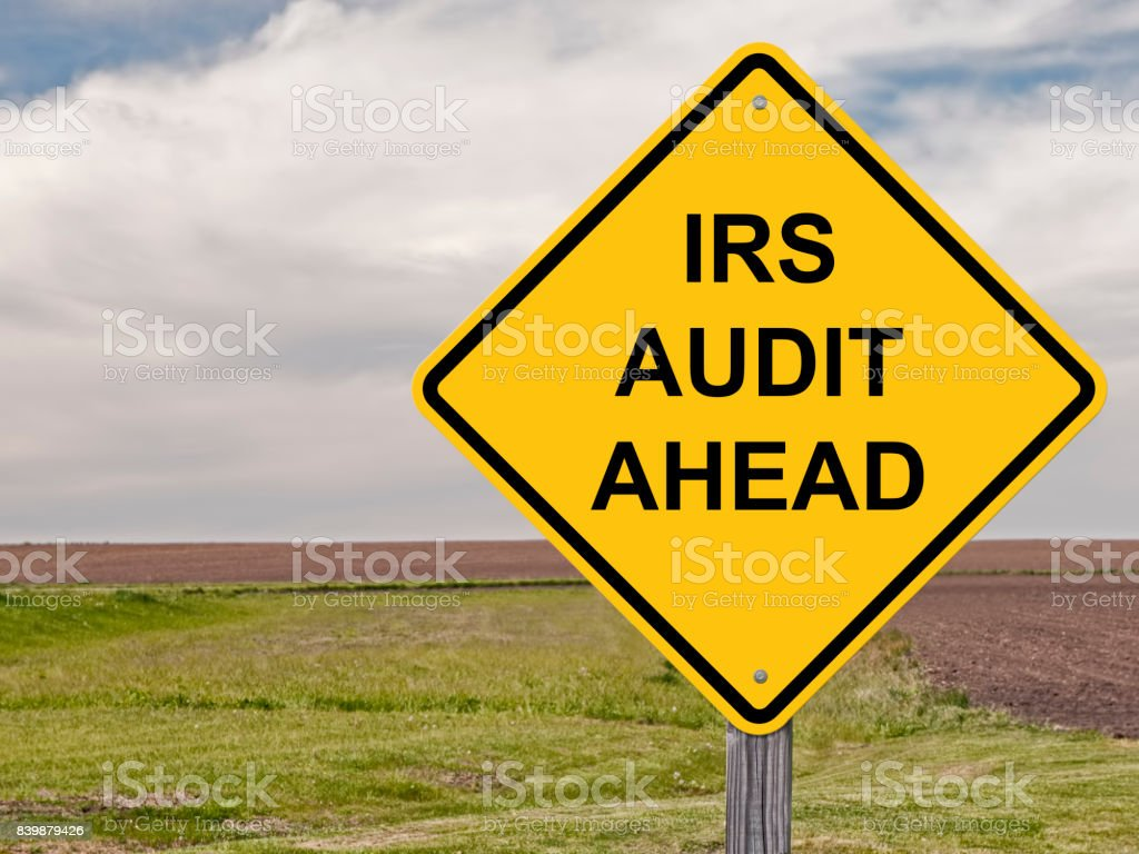 Caution Sign - IRS Audit Ahead stock photo