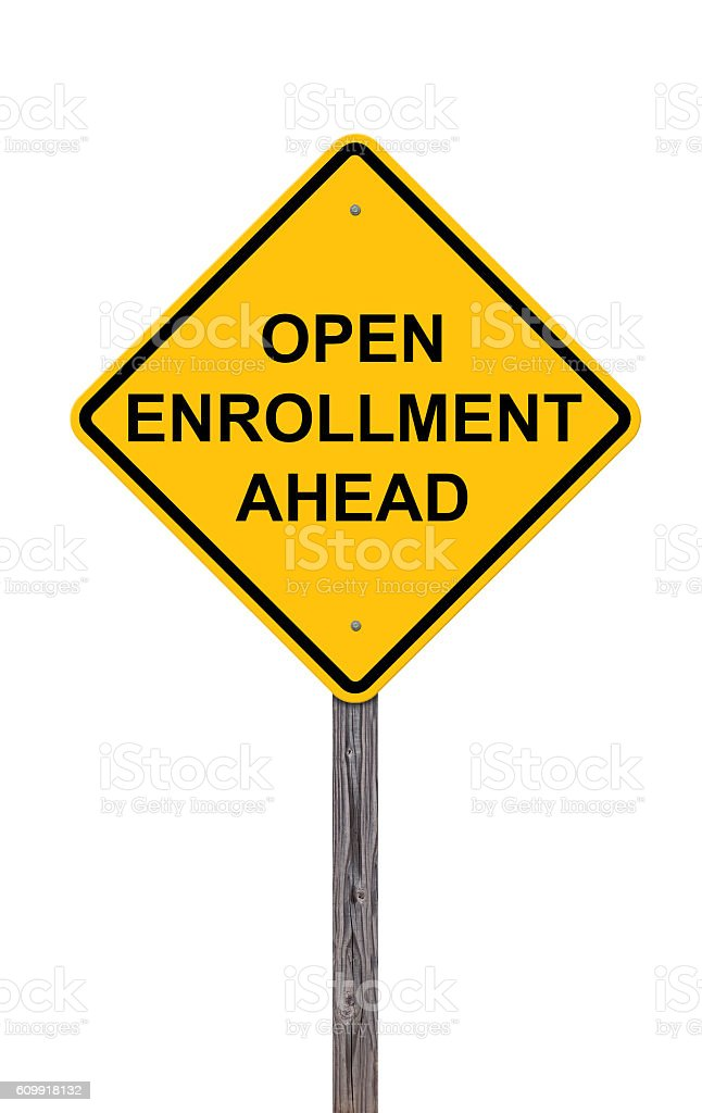 Caution Sign - Open Enrollment Ahead stock photo