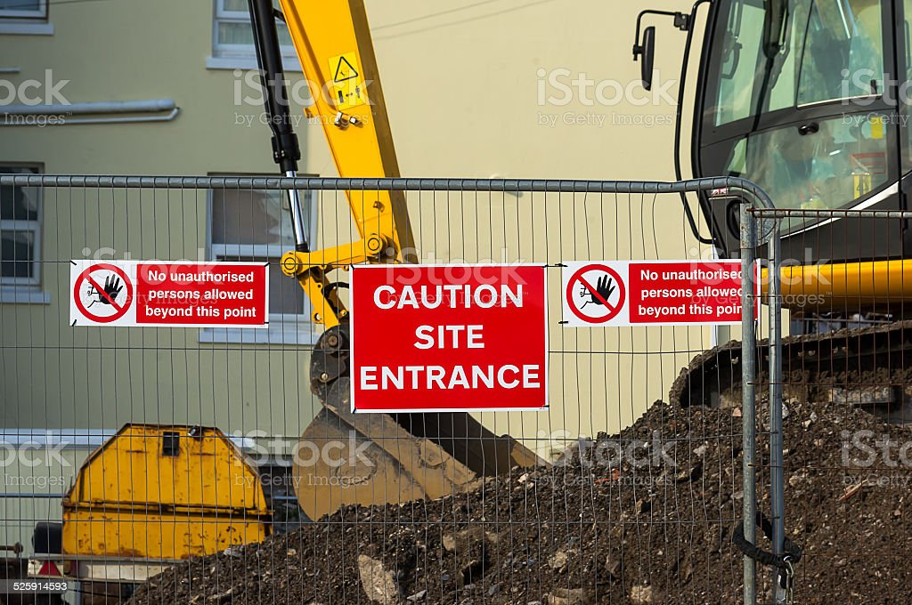 Caution - Site Entrance stock photo