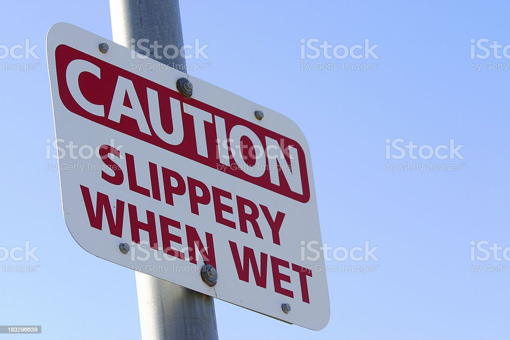 Caution: Slippery when wet royalty-free stock photo