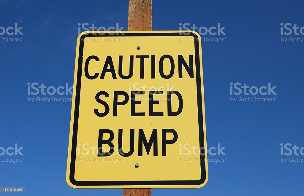 Caution Speed Bump Sign - Horizontal stock photo