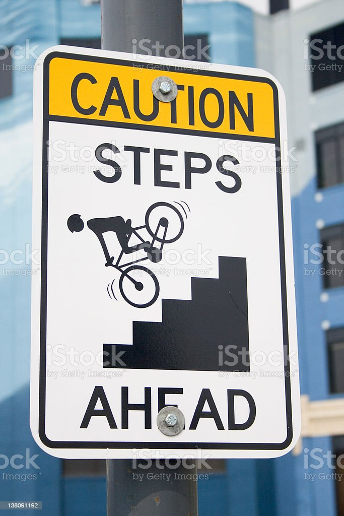Caution Steps Ahead stock photo