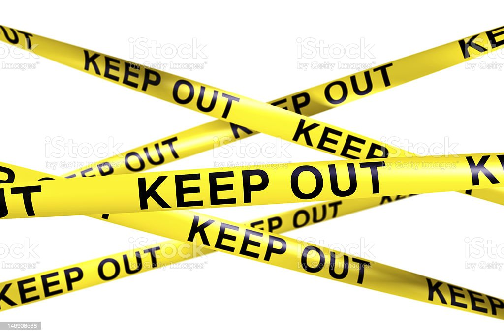 Caution tape with KEEP OUT on it royalty-free stock photo