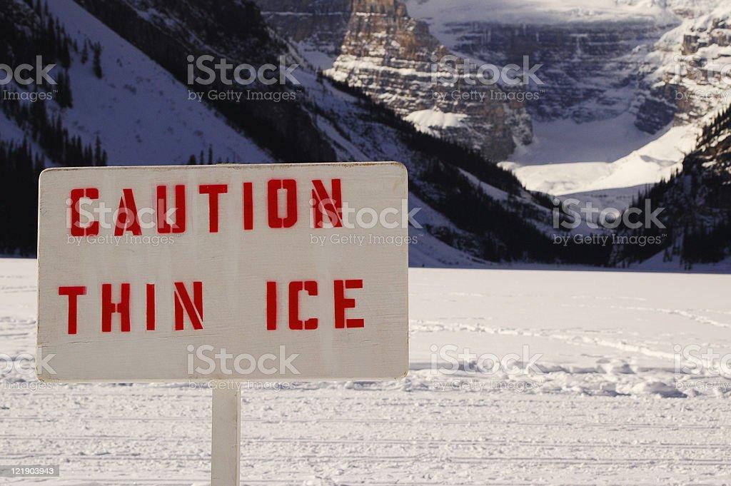 Caution Thin Ice royalty-free stock photo