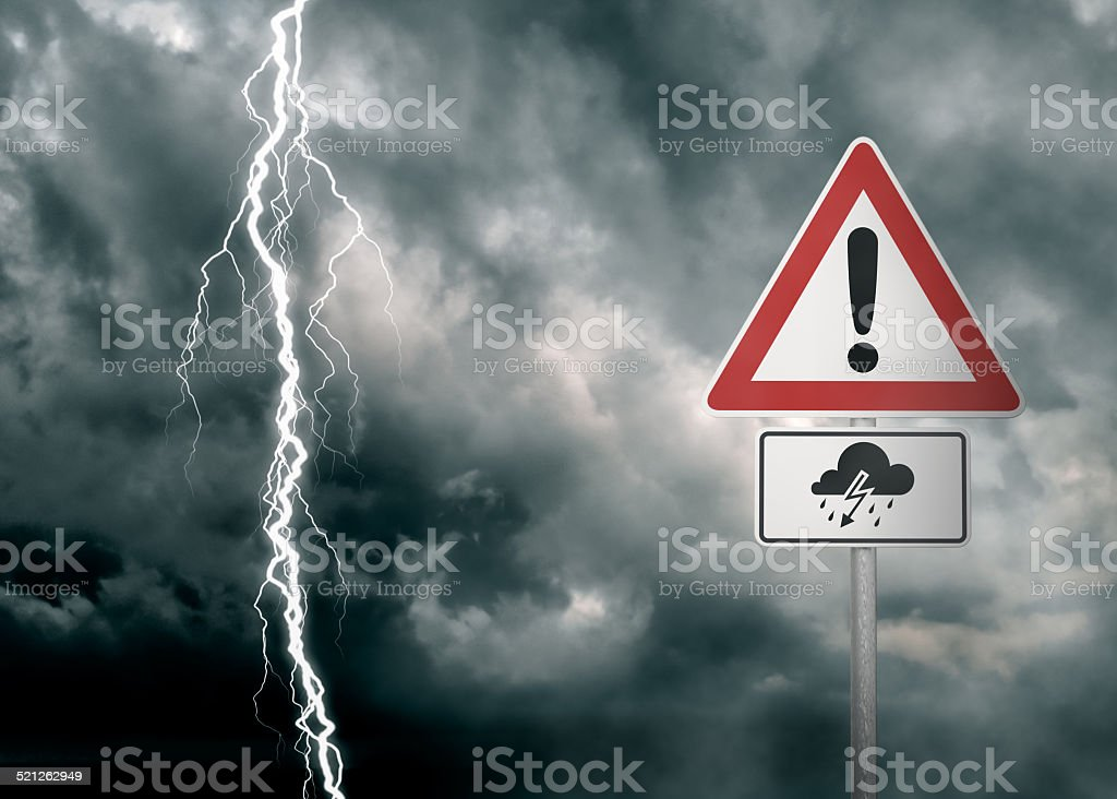 Caution - Thunderstorm Ahead stock photo