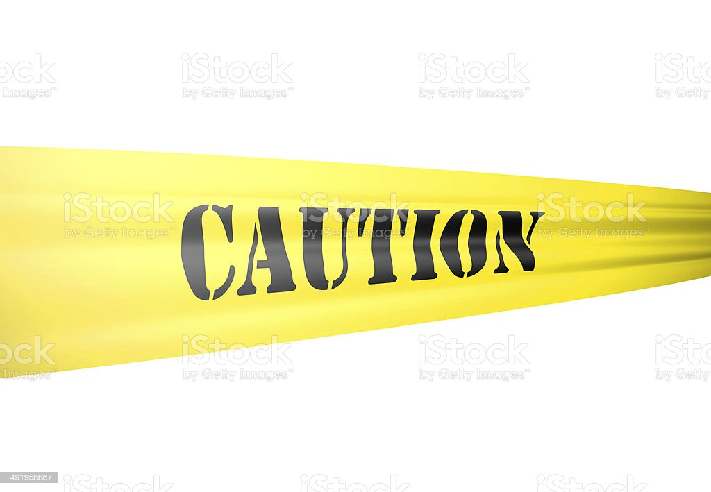 caution tickertape style cordon on yellow tape on white stock photo