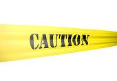 caution tickertape style cordon on yellow tape on white
