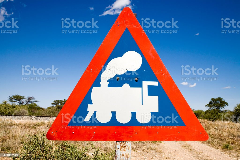 Caution Train Crossing Road Sign Series V royalty-free stock photo
