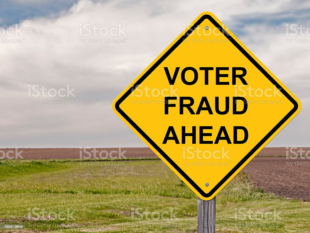 Caution - Voter Fraud Ahead stock photo
