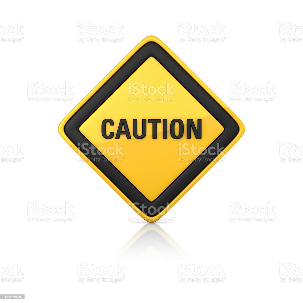 A caution warning sign on a white background royalty-free stock photo