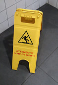 Caution Wet Floor Sign From Cleaning Service In Italy.Europe