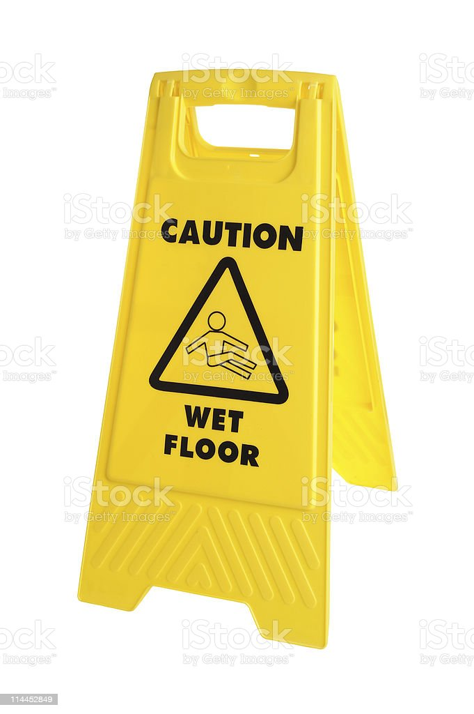 Caution wet floor sign on white background stock photo