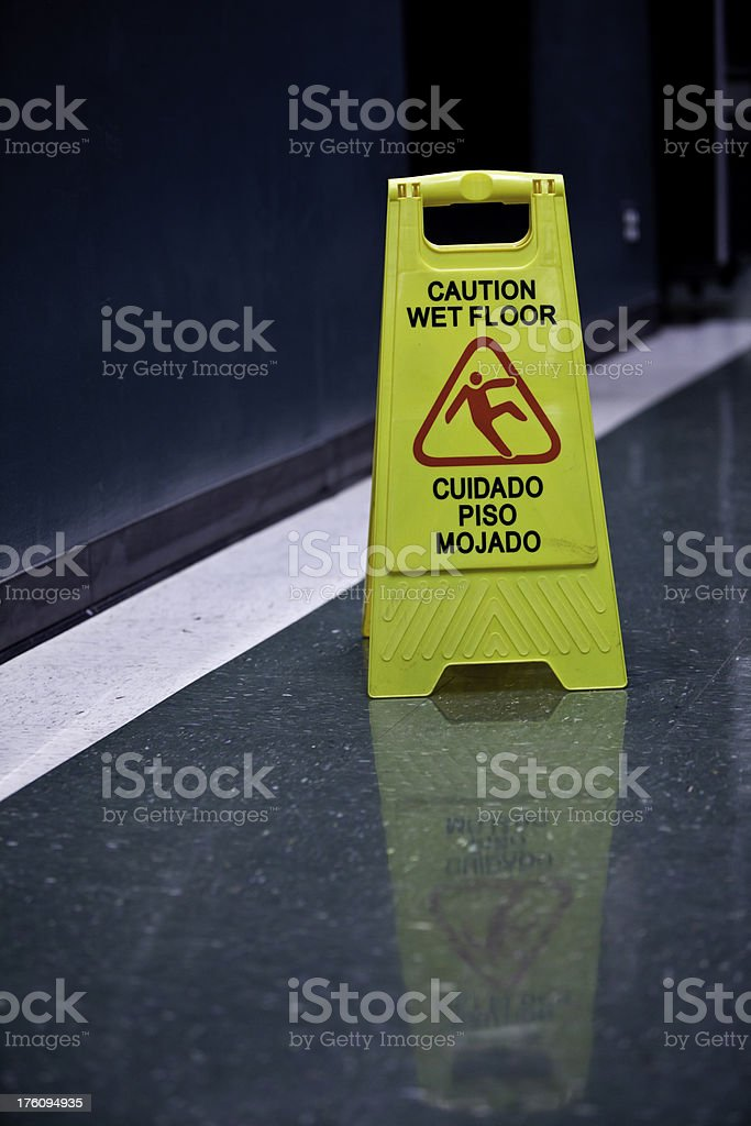 Caution Wet Floor Sign royalty-free stock photo