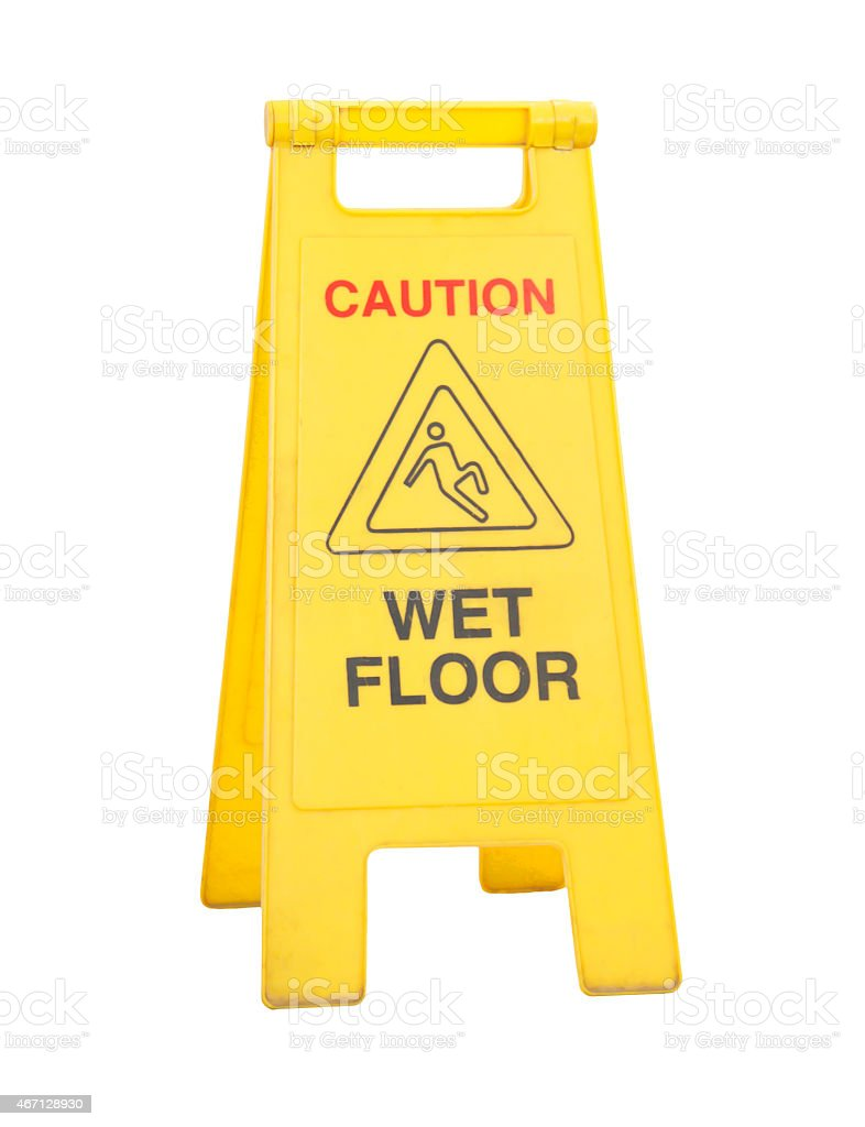 caution wet floor signs Isolated on white stock photo