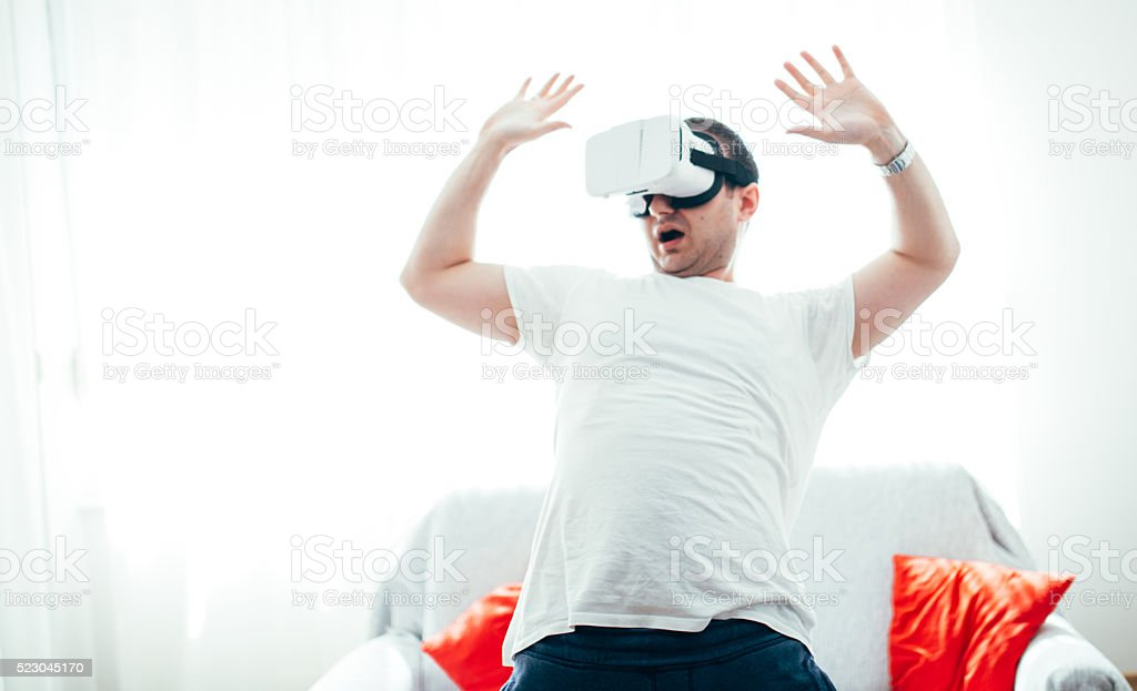 Caution when in virtual world stock photo