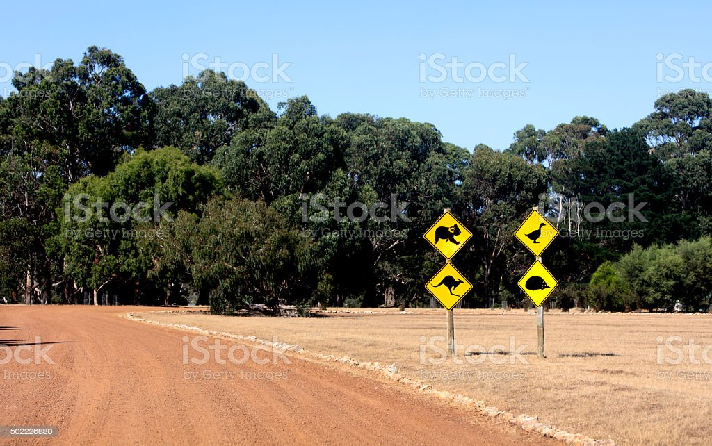 caution wildlife signs stock photo