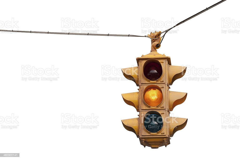 Caution yellow, Vintage traffic light stock photo