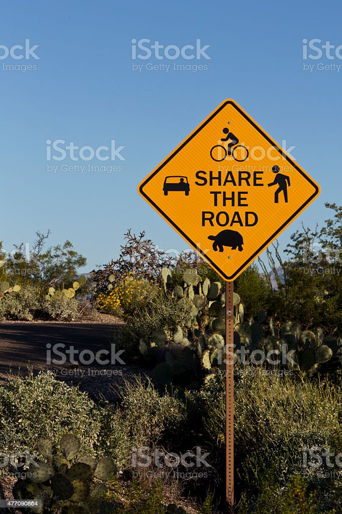 Cautionary Share the Road sign in Saguaro National Park stock photo