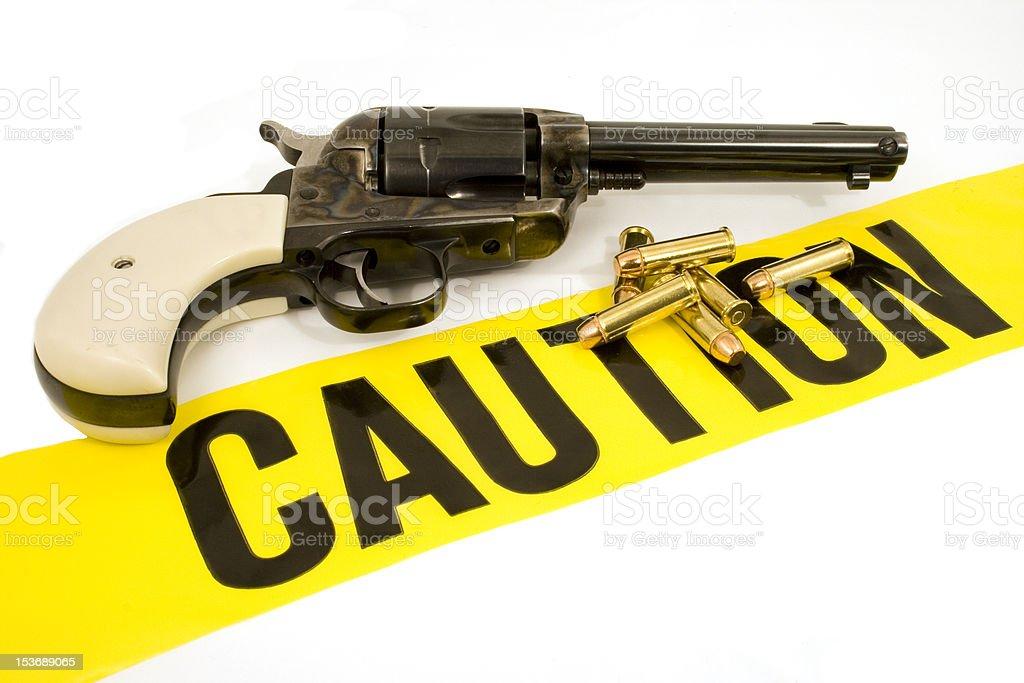 Caution...Hand Gun & Ammo stock photo