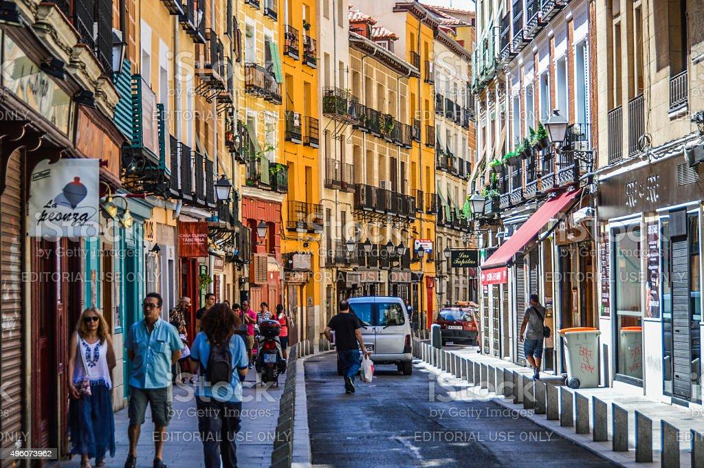 Cava Baja street in Madrid, Spain stock photo