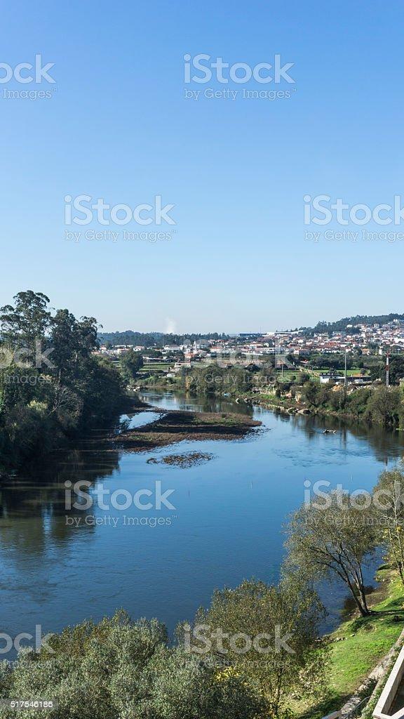 Cavado river on the portuguese city of Barcelos stock photo