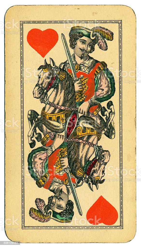 Cavalier of Hearts Tarot Austrian Taroch 1900 stock photo