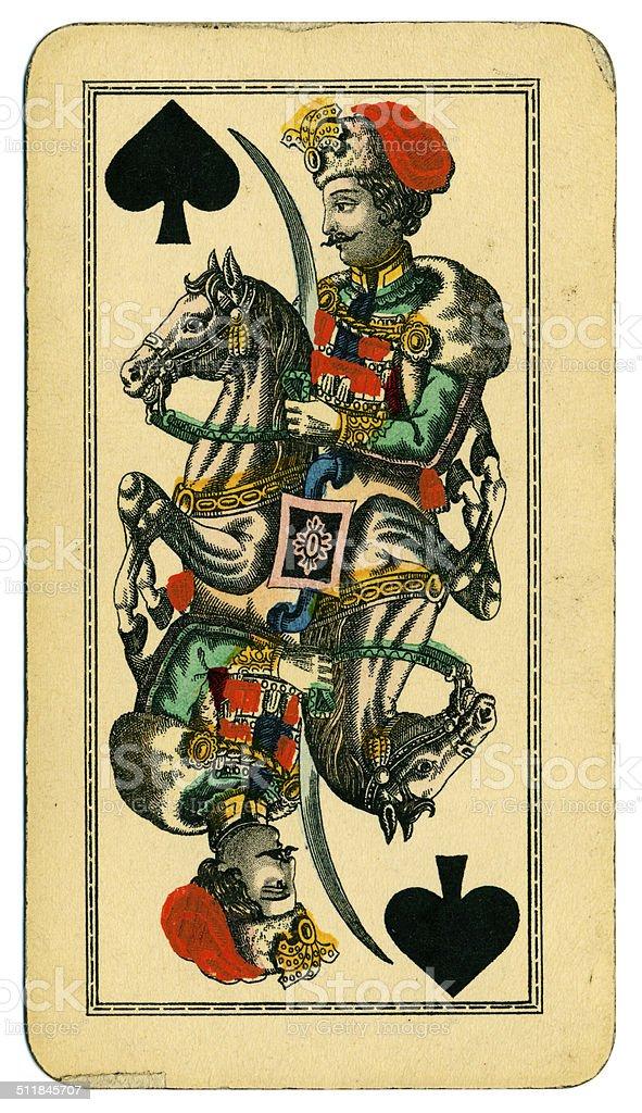 Cavalier of Spades Tarot Austrian Taroch 1900 stock photo
