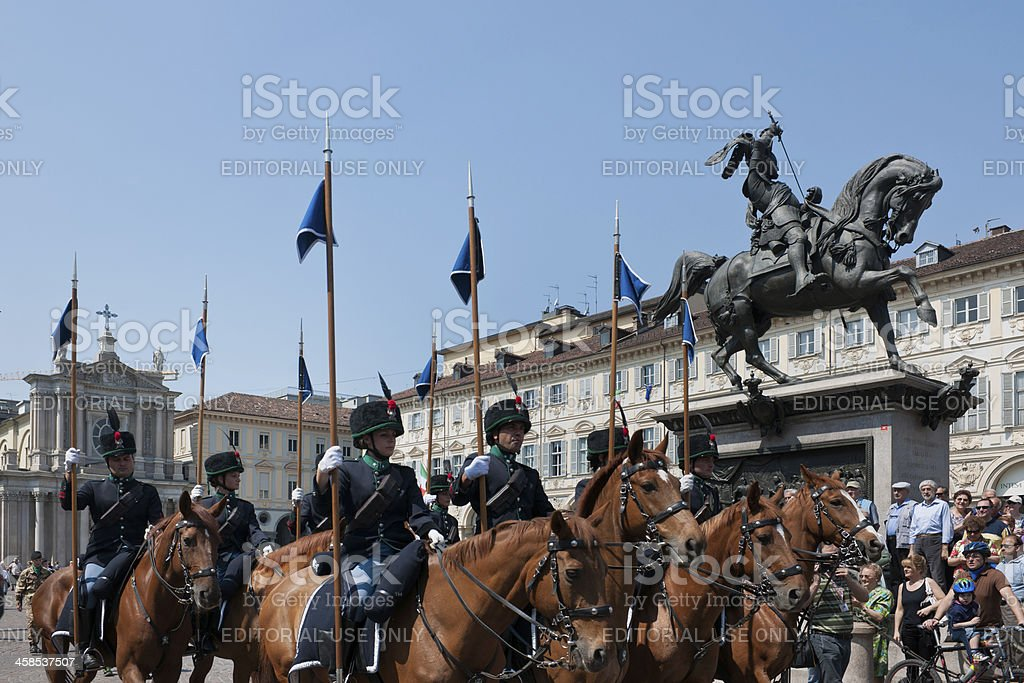 Cavalry Army national meeting: horseback soldiers parading, Castello square, Turin royalty-free stock photo