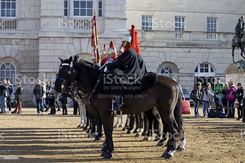 Cavalry at Horse Guards Parade during Changing of the Guard royalty-free stock photo