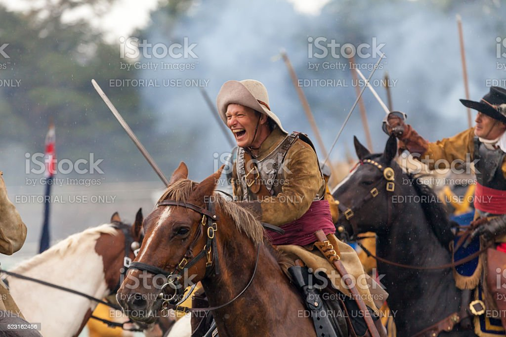 Cavalry Charge at The Siege of Chester 2015 stock photo